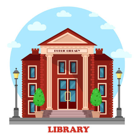 books library: Public lending or academic, national library exterior outdoor view. Structure with books and contemporary, periodicals archive for learning and study. For education and architecture theme Illustration