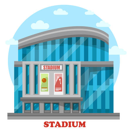 panorama view: Glassware sport stadium building with posters. Structure for professional sport events and championships, sportsmen competition and crowd cheering. Construction exterior panorama view Illustration