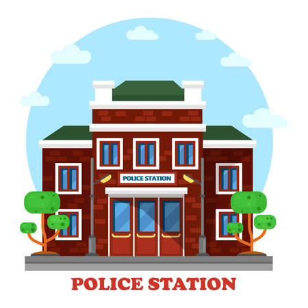 municipal: Outdoor exterior view on police station building. Municipal structure for assistance and man with authority fighting crime. Perfectly fit for social place and architecture brick facade