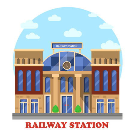 depot: Train or railway, railroad station or depot with clocks. Intercity and city or town transit for freight or passenger, social architecture building or structure, outdoor exterior construction view Illustration