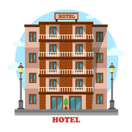 apartment for rent: Hotel or motel, skyscraper hostel building exterior view. Apartment for rent that used by tourists and travelers on vacation. Modern residential luxury resort outdoor landscape Illustration