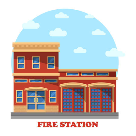 precinct station: Fire station or department structure for firefighters panorama. Building with firemen for rescue and protect service. Outdoor exterior view on municipal construction on street
