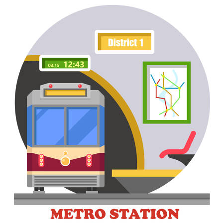 urban district: Metro or subway, rapid transit or heavy rail, tube or underground. Train in tunnel at district station with map and time. Public transport in urban area and downtown for passengers.