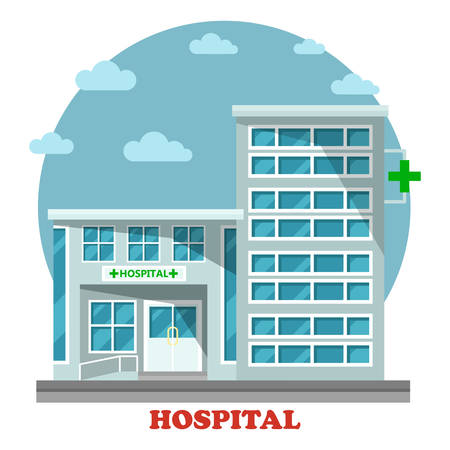 municipal: Hospital or clinic, hospice building with green cross. Modern structure or construction for medicinal institution and municipal healthcare. Architecture of facade with windows exterior panorama view Illustration