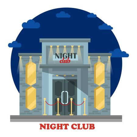 ortseingangsschild: Nachtclub Fassade mit Eingang und Lichtern. Gebäude oder Konstruktion für Chill-out und Entspannung an den Feiertagen, Tanzen. Haus für die Freizeit und das Trinken von Alkohol. Struktur im Freien Außenansicht