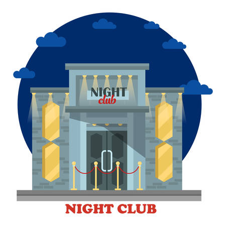 night club: Night club facade with entrance and lights. Building or construction for chill out and relaxation on holidays, dancing. House for leisure and alcohol drinking. Structure outdoor exterior view
