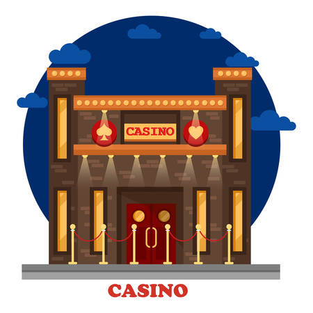 Modern casino or gambling house with lights exterior. Building in las vegas or singapore, macau at night for gaming and playing, relaxing and drinking alcohol, Structure panorama outdoor view