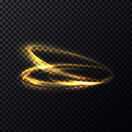 radiance: Glowing flying in rings particle with trail or tail. Luminous lines with swirl effect on transparent background. Abstract sparkle movement with radiance and shading flash, blur