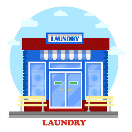 washhouse: Laundry or washhouse building with wash machines on showcase. Facade of structure for self-service cleaning clothing with laundry. Can be used for hygiene and architecture theme Illustration