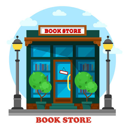 pedagogic: Book store or shop for paper reading outdoor view. Bookstore or bookshop with paper catalog shelf or bookshelf. May be used for education or geek, literature or knowledge, learning and pedagogic theme Illustration