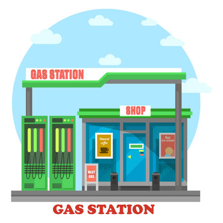 benzine: Gas station or petrol store, market or shop with pumps for automobile energy. Local facade of construction for benzine sale. Exterior outdoor view on modern structure. For travel theme Illustration