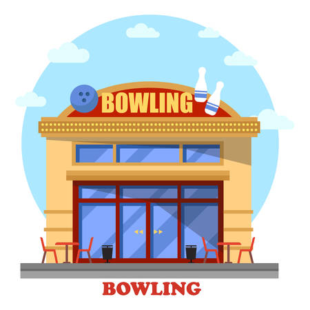 indoor sport: Bowling club outdoor exterior panorama view. House facade or district building, urban structure or city construction for indoor sport leisure and active hobby, recreation for throwing ball game