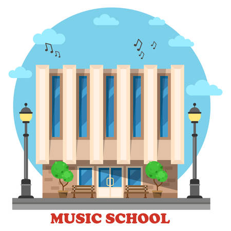 conservatory: Music school or college, conservatory building. Facade of construction outdoor exterior view for musicianship, museology,vocational university. Architecture for travel landmarks and social institution Illustration