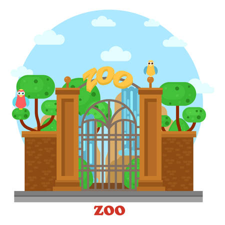 mammals: Zoo entrance exterior outdoor street side of view with waterfall and parrots on tree. Building near road for visiting wild animals and wildlife mammals in cages. Urban place for leisure and recreation Illustration
