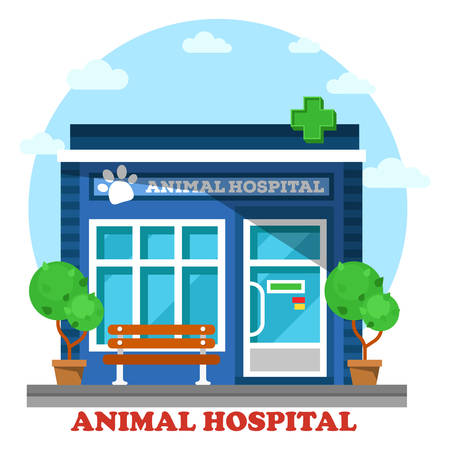 crippled: Veterinary medicine or hospital, clinic for animals. Shop or store for vet or veterinarian to cure ill or sick pets disease. Healthcare or treatment for wild or domestic animals. Facade exterior view