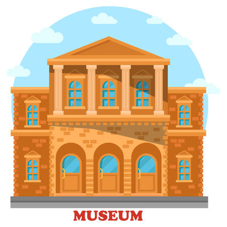 Artistic or cultural, historical or gallery museum building exterior view. Classic national exhibit construction facade. Front view of building or facade of landmark for sightseeing