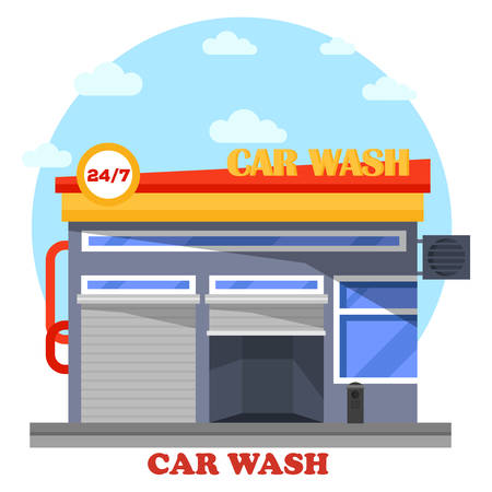 automated: Car wash architecture front view of facade. Automobile or transport, vehicle cleaning facility that is self-serve or automated for drivers. Front exterior outdoor view on building or structure Illustration