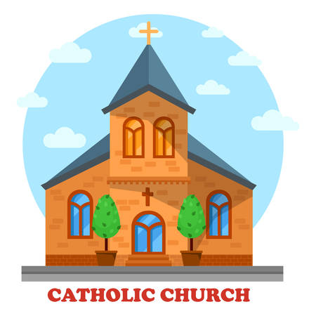 the christian religion: Religion catholic or christian church facade. Architecture or construction of sanctuary or cathedral for praying or worship to God or Jesus. Perfect for culture and soul, spiritual and religious theme Illustration