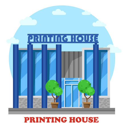 printmaker: Printing house or typography shop or store. Structure exterior view for sale or trading press and newspaper, book or magazine.