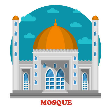 Arabian islam muslim mosque with domes front building view. Architecture of asian place for worship at ramadan celebration, pray to allah. Ideally fit for faith and religion theme