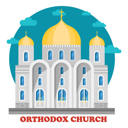 place of worship: Eastern orthodox christian church with domes. Christianity place for worship or praying to God or father, Jesus. Religion social institution in for of chapel or cathedral, sanctuary. Culture and faith