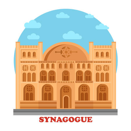 hebrew: Synagogue or synagog architecture building. Hebrew or judaism temple or church with star of David on top. Great for hebrew or faith, holy and culture, social construction panorama theme