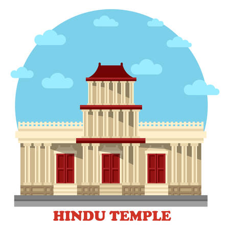 holy place: Hindu temple or mandir facade exterior view. Structures for hinduism or religion, worship or pray in asia including nepal and india, vietnam and cambodia. Great for religious and architecture theme Illustration