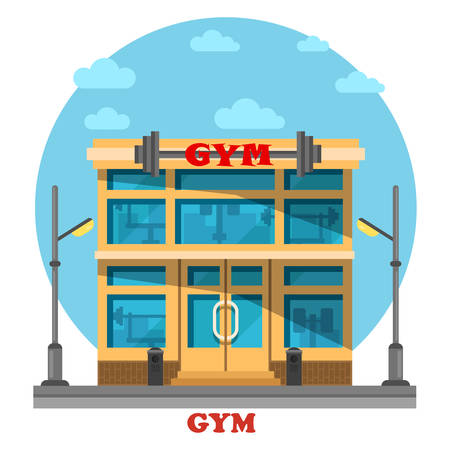 muscle training: Gym or gymnasium, fitness center architecture building with barbell on top. Construction for pilates and gymnastic, athletics activity and bodybuilding, muscle training or exercise. Good sport theme Illustration