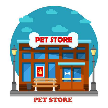 cat grooming: Pet store and shop for animal care building including dog or cat grooming. Architecture of construction exterior outdoor view with bone on top panorama for trade or sale pets food or nutrition.