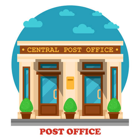office construction: National post office for mail services like accepting letters and parcels. Architecture of building for transfer packs or documents by postman. Great for structure and construction exterior panorama Illustration