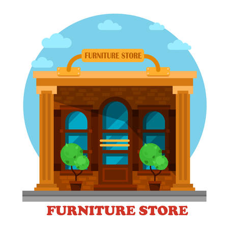 panorama view: Furniture store or shop building facade architecture. Construction or structure for sale or retail old, modern, wooden sofas or tables, chairs. Great for sightseeing or exterior outdoor panorama view Illustration
