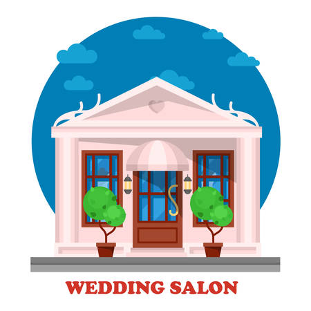 matrimony: Wedding salon for marriage ceremony building. Tradition of matrimony or wedlock, espousal or nuptial, bridal or remarriage. Husband and wife place for celebration. Male, female couple theme