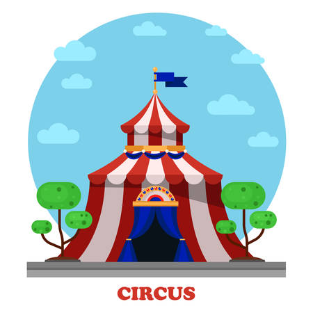 bivouac: Circus marquee or tent , front view. Shelter or bivouac, camp or encamp for festival event and entertainment show or performance. Illustration