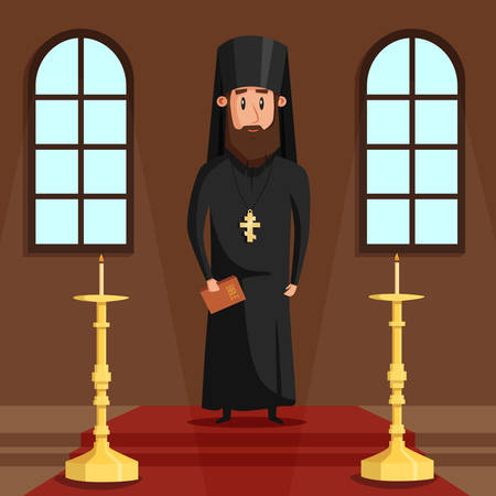 Orthodox christian priest or bishop with beard and cross. Eastern greek presbyter at church hall or chapel with candles where religious people faith in God or Jesus. Can be used for spiritual theme Çizim