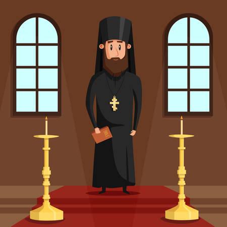 sotana: Ortodoxo sacerdote o un obispo cristiano con la barba y transversal. presbítero griego oriental en el pasillo de la iglesia o capilla con velas donde la gente religiosa la fe en Dios o Jesús. Puede ser utilizado para el tema espiritual Vectores