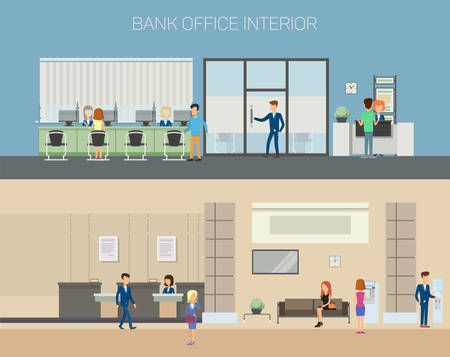 bank interior: Bank office interior with consultants at reception with computers and clients sitting on couch and chairs, people using cash dispenser. Great for financial and credit, banking and consulting theme