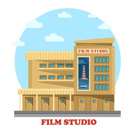 television production: Film or movie studio building facade. Architecture of construction for modern production company or studio facility, TV or famous television production. Panorama of structure for entertainment or art