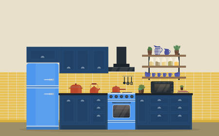 kitchen range: Kitchen room for food cooking interior with stove or oven, gas range and refrigerator or fridge, spice rack with jars and jug, spatula and whole spoon, kettle or teapot and exhaust hood, pan. Illustration