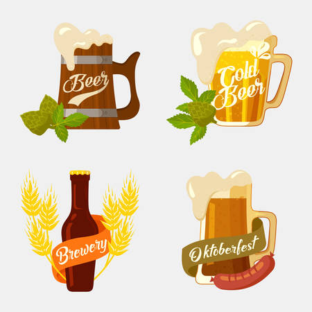 barley hop: Beer in wooden and glassware mug with foam, bottle with brewery ribbon and hop or barley, sausage for snack.