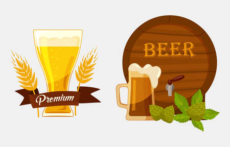 barley hop: Barrel or keg with beer and glassware goblet with foam, hop and barley or malt and ribbon saying quality. May be used for alcohol banners at restaurant, brewery emblem design, bar badge