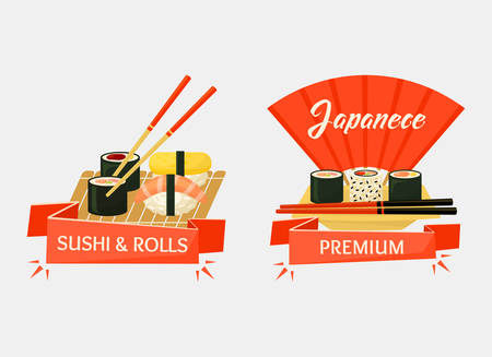 chop sticks: Nigirizushi and temaki sushi rolls banners for restaurant or kitchen cook. Japanese wooden chopsticks with ribbon saying premium. Traditional japan cuisine or cook Illustration
