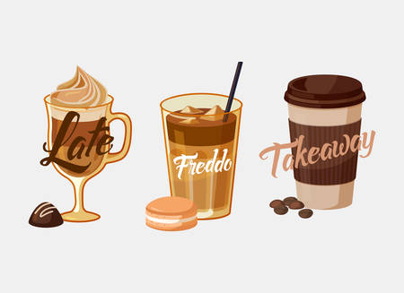 Iced coffee latte or mocha with chocolate and freddo in kyoto style with cake, greek frappe. Coffee plastic cup sleeve with bean or grain with takeaway text.