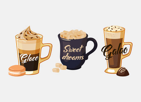 espresso cup: Glace coffee with ice cream and portugal galao made of espresso and milk foam, cup with iced sugar and sweet dreams text. Illustration