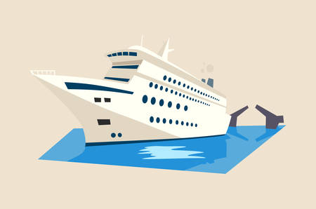 caribbean cruise: Yacht or liner, ship or boat on water with moveable bridge. Cruise or travel banner, caribbean vacation emblem or journey voyage sign. Great for nautical poster or maritime emblem, tourist theme