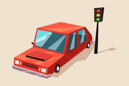 bleak: Car or auto, automobile vehicle at traffic light. Illustration