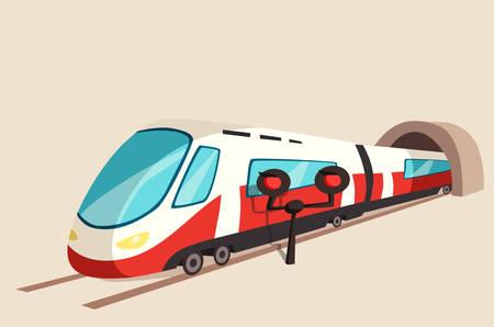 treno espresso: dal tunnel e flash di luce movimento del treno elegante. Ferrovia o il trasporto velocità ferroviaria banner o espresso vista simbolo prospettiva su rotaia.