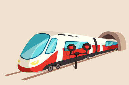 Sleek train movement from tunnel and flash light. Railroad or railway speed transport banner or express symbol perspective view on rail. Illustration