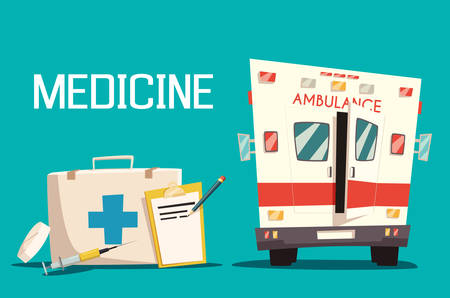 medical emergency: First aid kit and ambulance car, syringe and pill. Emergency medical service for patient and diagnosis sheet of paper. Good for hospital and clinic, paramedic assistance theme