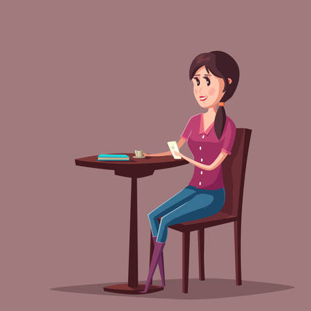 female girl: Woman or girl with smartphone sitting at cafe or restaurant. Long haired female with cellular phone with cup of coffee or tea wearing jeans. Illustration