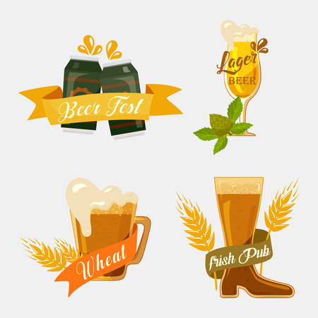 Metal beer cans and glassware mugs with foam. Alcohol beverage with ribbons for german beer festival or irish pub banner, english bar badge or restaurant emblem Illustration